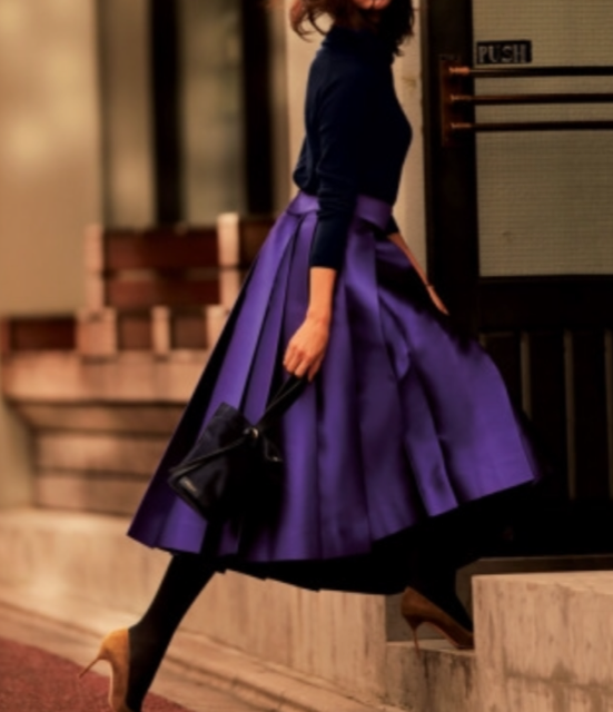 Xライン紫スカートコーデ