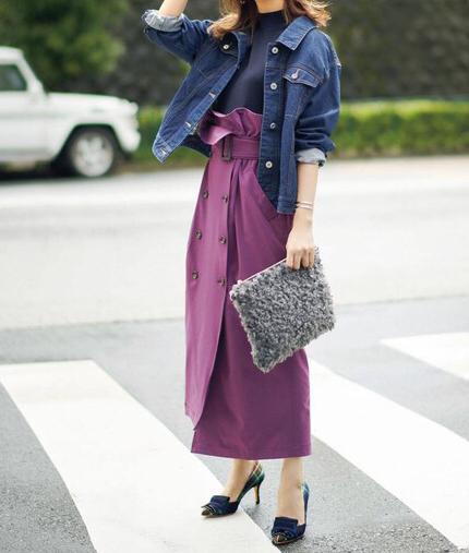 Iライン紫スカートコーデ